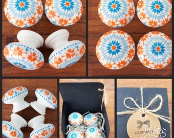 Hand Decorated Blue and Orange Moroccan Tile Kaleidoscope Wooden Drawer Knobs Pulls