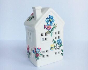 Tea light candle ceramic house - Highgate Rose Floral