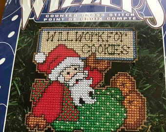 SPRINGSALE Set of 2 Wizzers Counted Cross Stitch ornaments kit, Work for Cookies, Whata Great Dad, plastic canvas