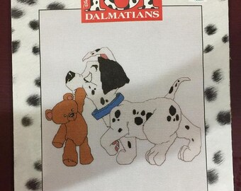 SPRINGSALE Walt Disney's 101 Dalmatians Pup & Teddy Bear Cross Stitch kit from symbol of excellence publishers m, inc. with 14 count white A