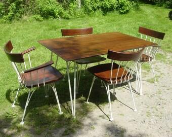 Vintage 1960s dinette set, Woodard furniture, Four chairs and table, vintage dinette set, mid century modern