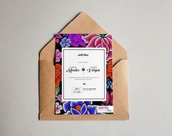 Mexican style wedding invitations, with Oaxacan flowers embroidered on black background