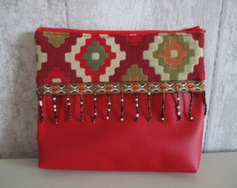Red leatherette and fabric pouch ethnic