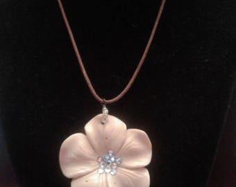 Exotic Flower Necklace, Vintage Handmade