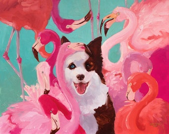 Flamingo party PRINT Pink turquoise border collie Artwork Gift, Wall art, flamingos living room Interior vivid colors colorful oil Painting