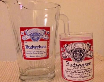 Vintage Anheuser Busch Budweiser Glass Bud Label Pitcher and Glass.
