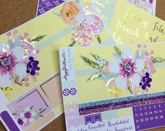 Spring Fling Gold Foiled 12 Months ERIN CONDREN MONTHLY Spread Decorative Sticker Set | January to December