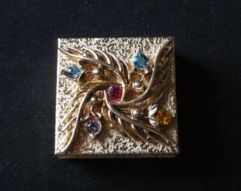 Vintage ornate jeweled pill box Goldtone topaz amethyst ruby citrine