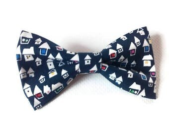 navy houses pattern dog cat bow tie pet bowties cotton velcro bow tie dog cat bow ties for large dogs for puppies bowties gift dog birthday