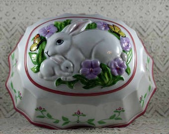 Vintage Franklin Mint, Le Cordon Bleu, Rabbit and Baby Rabbit, Decorative Kitchen Wall Hanging/Jello Mold/Kitchen Mold