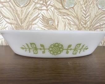 Vintage Glasbake White Milk Glass with Green Floral Medallion Pattern - Divided Casserole Dish J2352