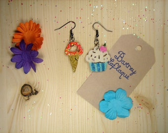 """Wooden """"cupcake and ice"""" earrings"""