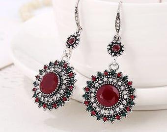 Ruby Red Flower Chandelier Earrings