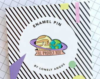 planets enamel pin, planet pin, planet hug, lapel pin, I'll protect you, earth and saturn, cute gift, gift for her, gift from him