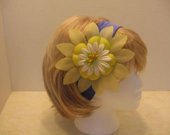 blue headband, yellow headband,  flower headband, bridesmaid headband, wedding headband, large flower headband