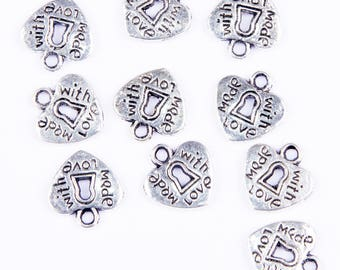 """10 heart charms with lock """"made with love"""" silver"""