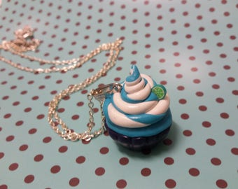 Blue and white cupcake necklace