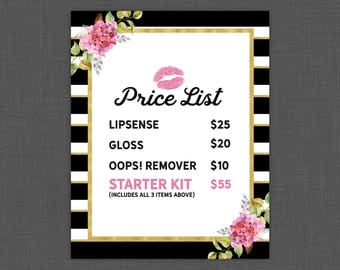 8x10 Lipsense Price List - LipSense Pricing List - Instant Download