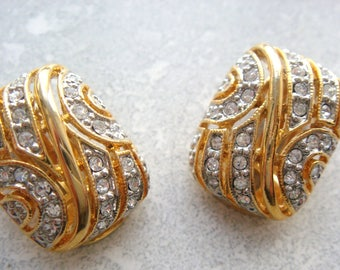 Ornate Clip on Earrings, Rhinestone Clip On Earrings from Valenica Spain