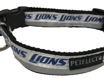 Detroit Lions Reflective Dog Collar