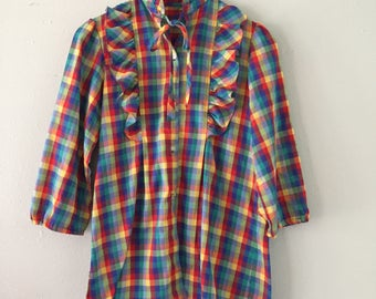 Handmade rainbow plaid button up with ruffles unique collar with bow tie
