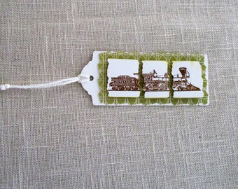 Bookmarks, Train bookmarks, Handmade bookmarks, Green bookmarks, Masculine bookmarks