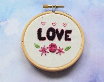 """Love Valentine's embroidery art in 3"""" hoop. Home decor; embroidered art; variegated thread roses and flowers"""
