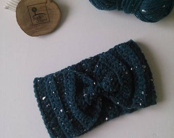 Blue Wool night band with silver Leaf Perfect for a casual look but style cozy turban woman