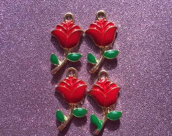 4 Gold and Enamel Rose Charms