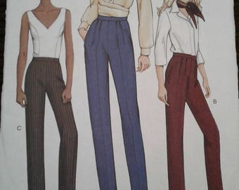 Vogue 7498 Misses Pants Easy Tapered Pleated Cuff PATTERN Size 6-8-10 UNCUT