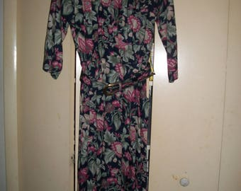 Vintage Multi-Color, Floral Secretary Dress, Size 6