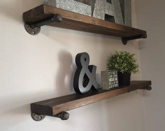 Industrial Galvanized Pipe Shelf //  Rustic Wood Floating Shelves // Knotty Alder // Set of TWO