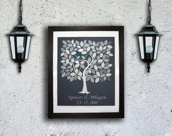 Livre d'or mariage Guest Book Alternative 3D invité mariage rustique bois livre Unique invité livre arbre de coeurs feuilles Bridal Shower