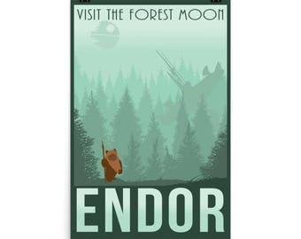 Star Wars Forest Moon of Endor Retro Travel Poster