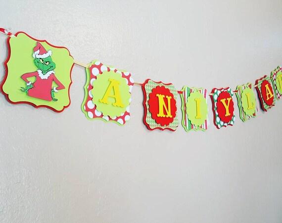 Grinch Birthday Banner Decoration