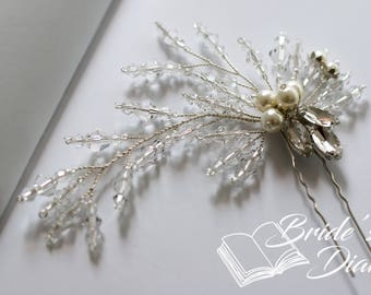 1pcs Bridal hair pins, Pearl Hair pins, silver hair pins with transparent pearls