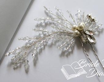 1pcs Bridal hair pins, Pearl Hair pins, silver hair pins with transparent pearls