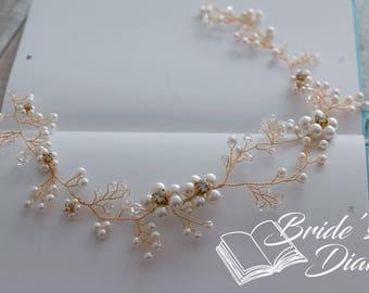 Wedding hair jewelry, pearls and crystals bridal wreath, bridal golden hair vine