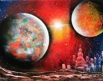 Acrylic painting Picture on canvas Spray paint art Space city New York Large picture Gift for birthday Original Painting Decor Multicolor