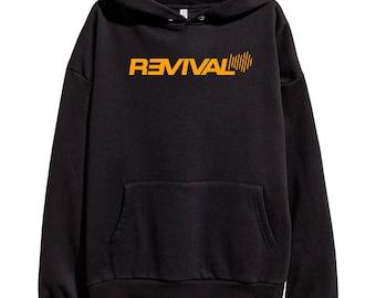 Eminem Revival Orange Logo Hoodie Classic Hip Hop Rap Vintage Style Sweatshirt Revival Slim Shady Records Aftermath Entertainment Detroit