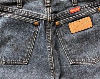 80s High Waist Dark Blue Wrangler Jeans With Reba Concery Ticket