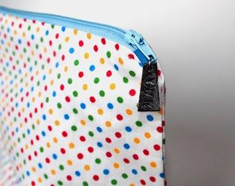 Handmade Polka Dot Project Bag, Make Up Bag, Knitting Bag