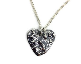 Silver heart necklace, Heart necklace silver, Silver heart pendant, Sterling silver heart, One of a kind necklace, Organic silver, Rustic