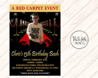 Red Carpet Invitation, Hollywood Party Invite, Red Carpet Party Invitation, Hollywood Printable, Red Carpet Birthday Party