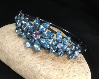 Vintage Dorothy Bauer Rhinestone Clamper Bracelet Blue AB Crystals Japanned Gun Metal