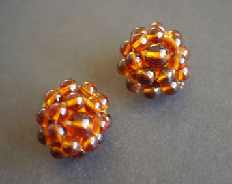 Vintage 1950s amber coloured cluster beaded glass clip on earrings West Germany