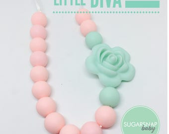 Little Girl - Silicone Necklace - Candy Pink with a Mint Rose - Toddler Necklace - Jewlery for Girls - safe for kid necklace - chew necklace