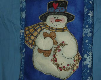 "Snowman Large Hot Pad, Blue hot pad, 9"" x 13"" hot pad with snowflake printed backing fabric"