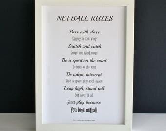 Netball poem, netball rules poem, netball gift, netball print, love netball poem,  netball player poem, pass with class poem, netball rules