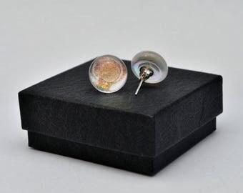 Orange shimmer dichroic stud earrings